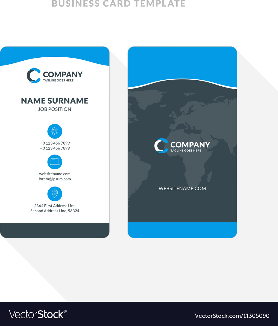 Vertical double sided business card template blue vector image flashek Gallery