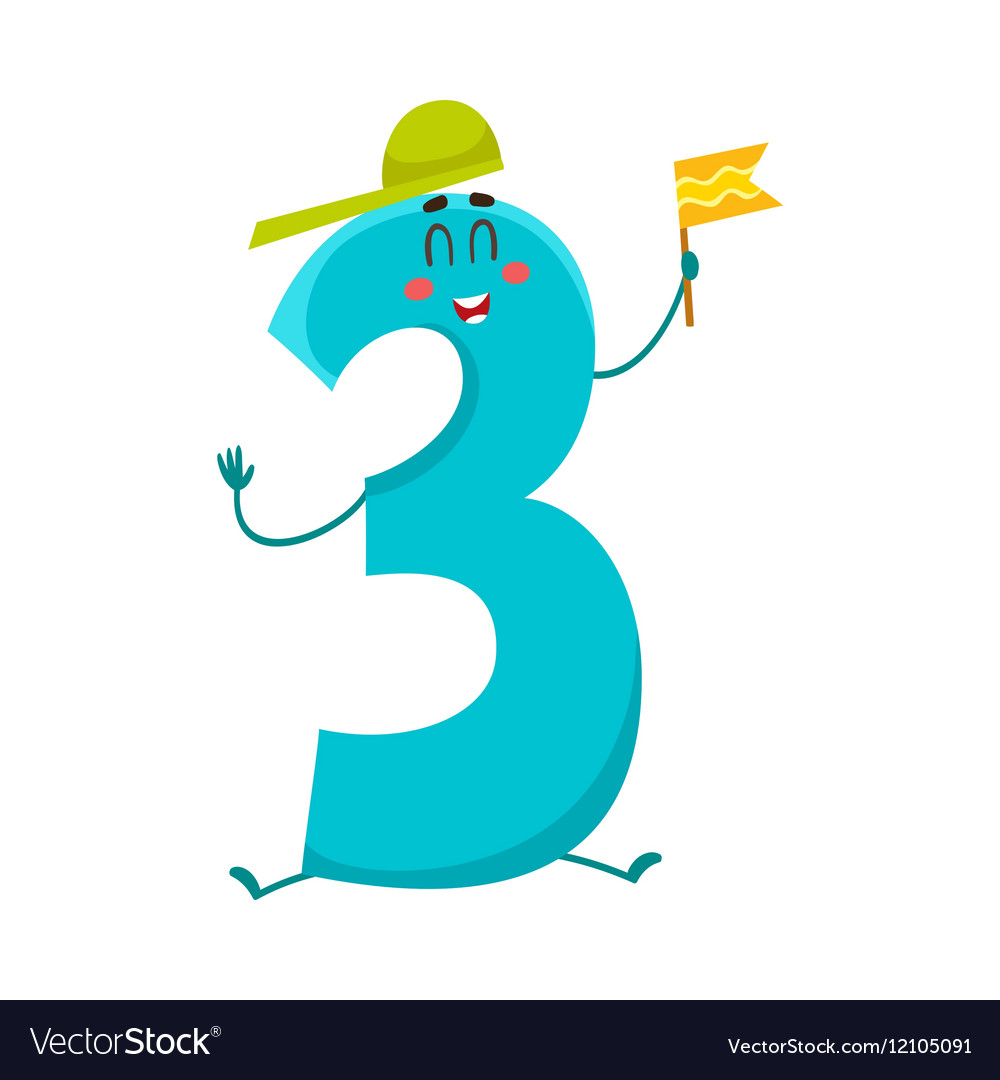Cute And Funny Colorful 3 Number Characters Royalty Free