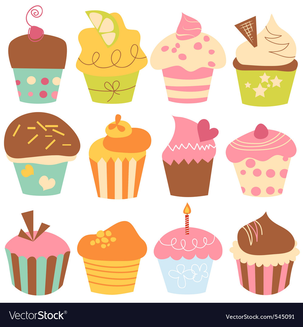 Cute cupcakes set vector image