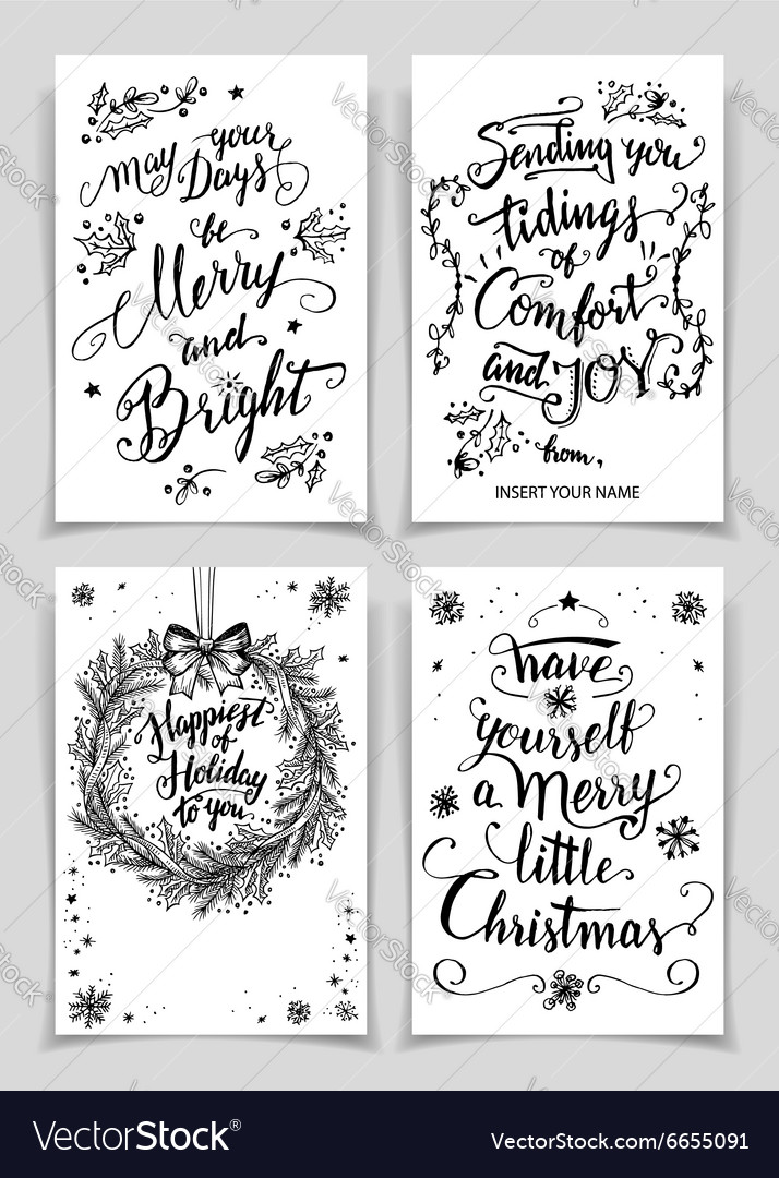 Christmas calligraphy greeting cards set vector image