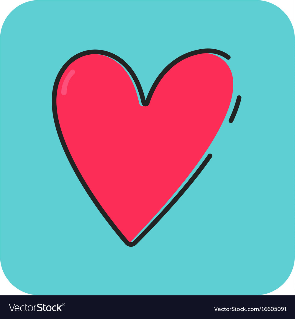 Flat color love icon vector image