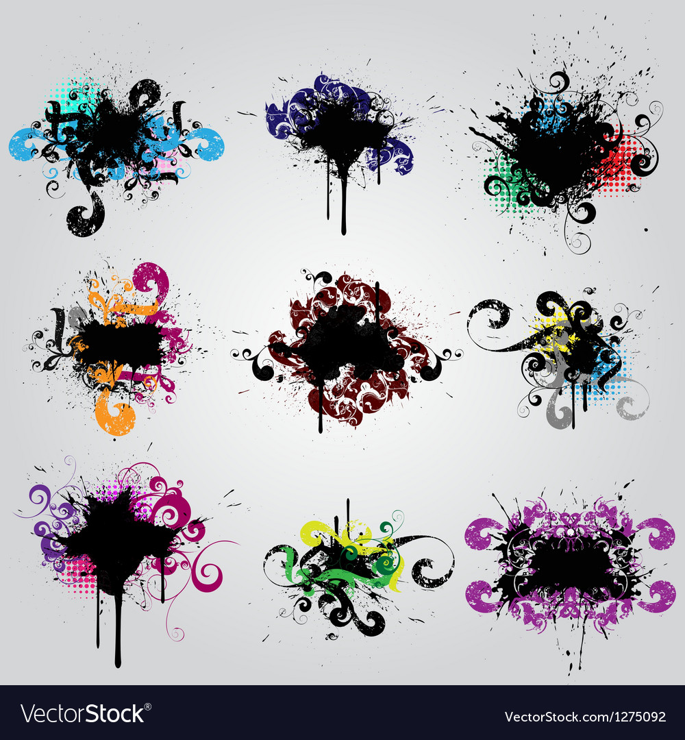 Set grunge elements vector image