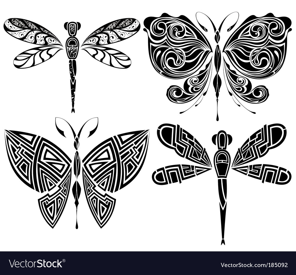 Butterfly tribal tattoo Royalty Free Vector Image