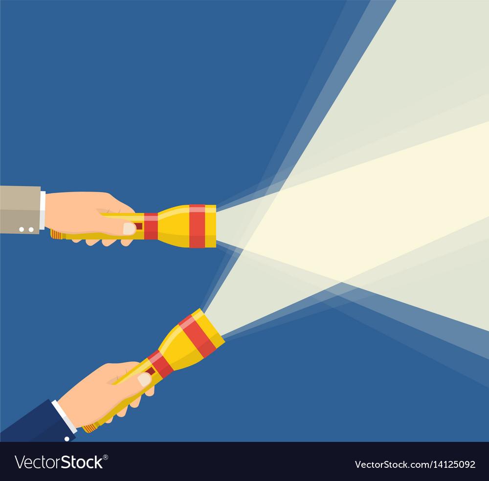 Hands holding flashlight vector image