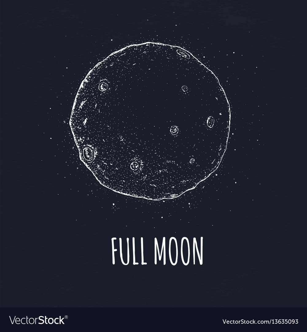Full moon in outer space with lunar craters logo vector image