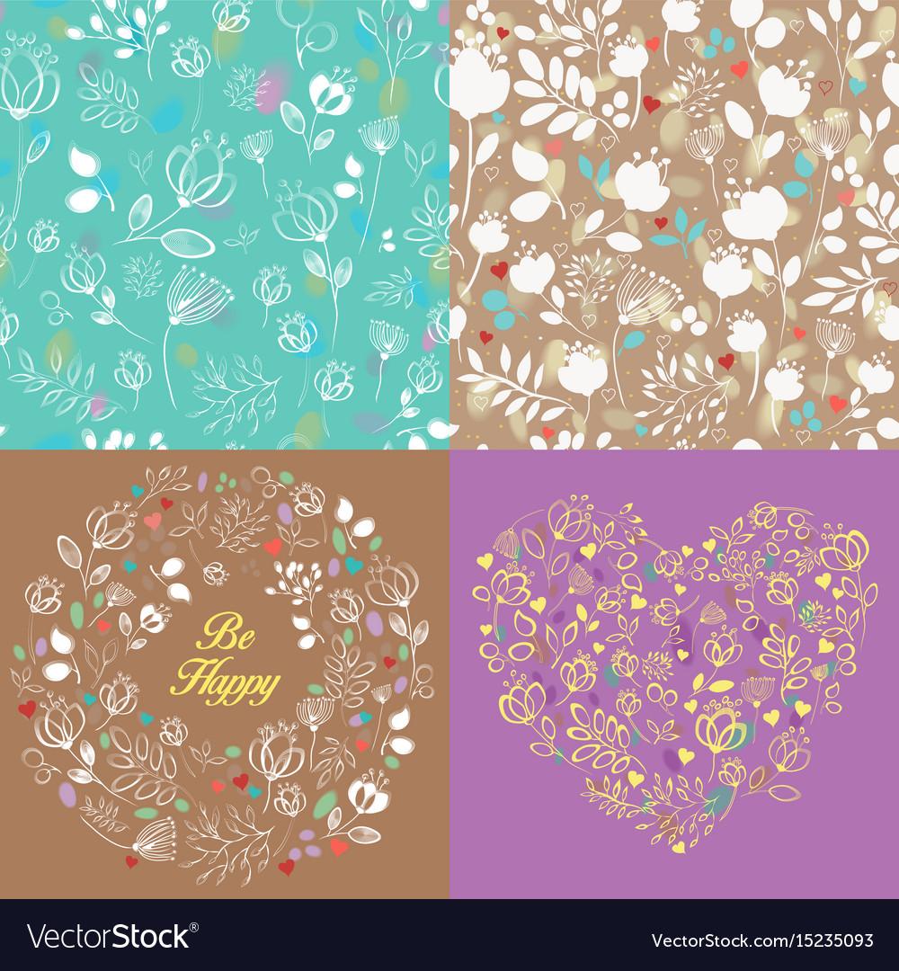 Spring drawing floral patterns set vector image