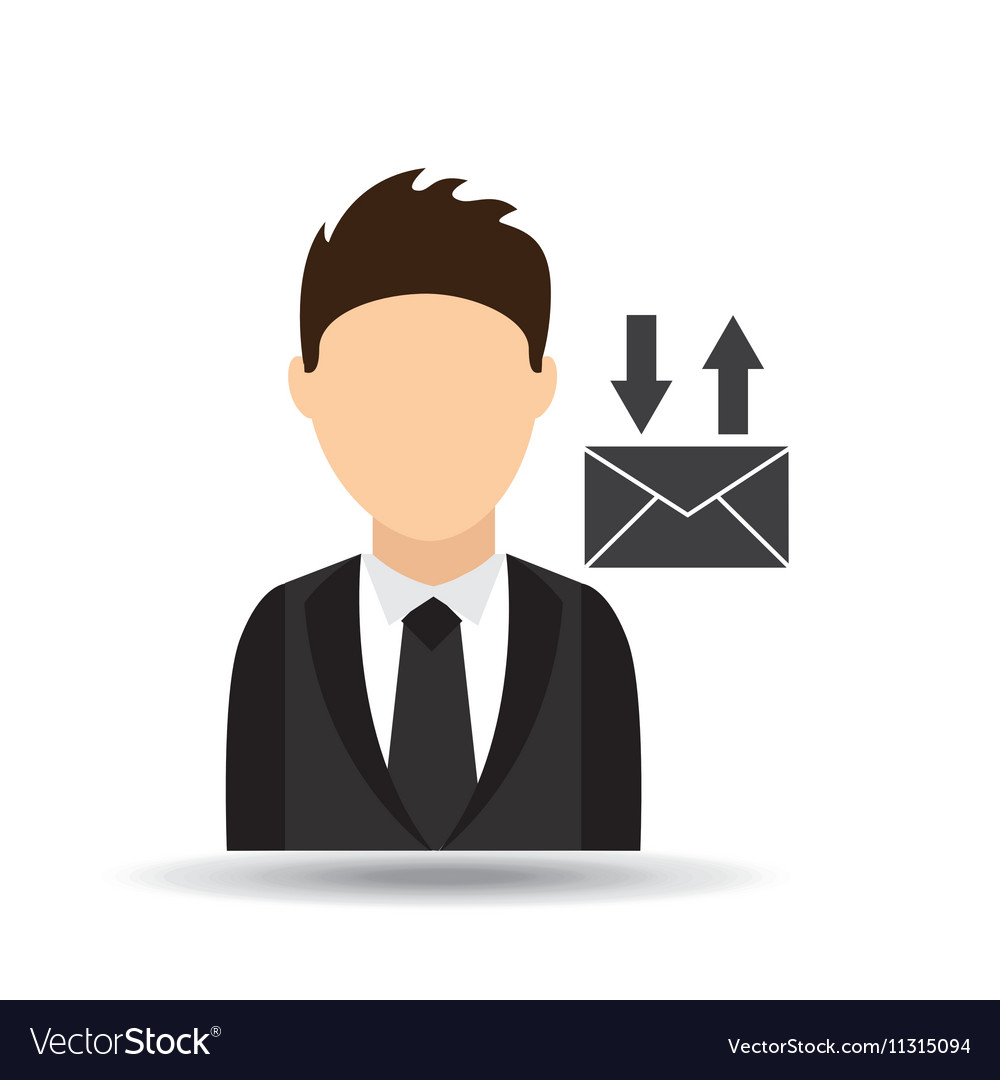 Character man with email mail design vector image