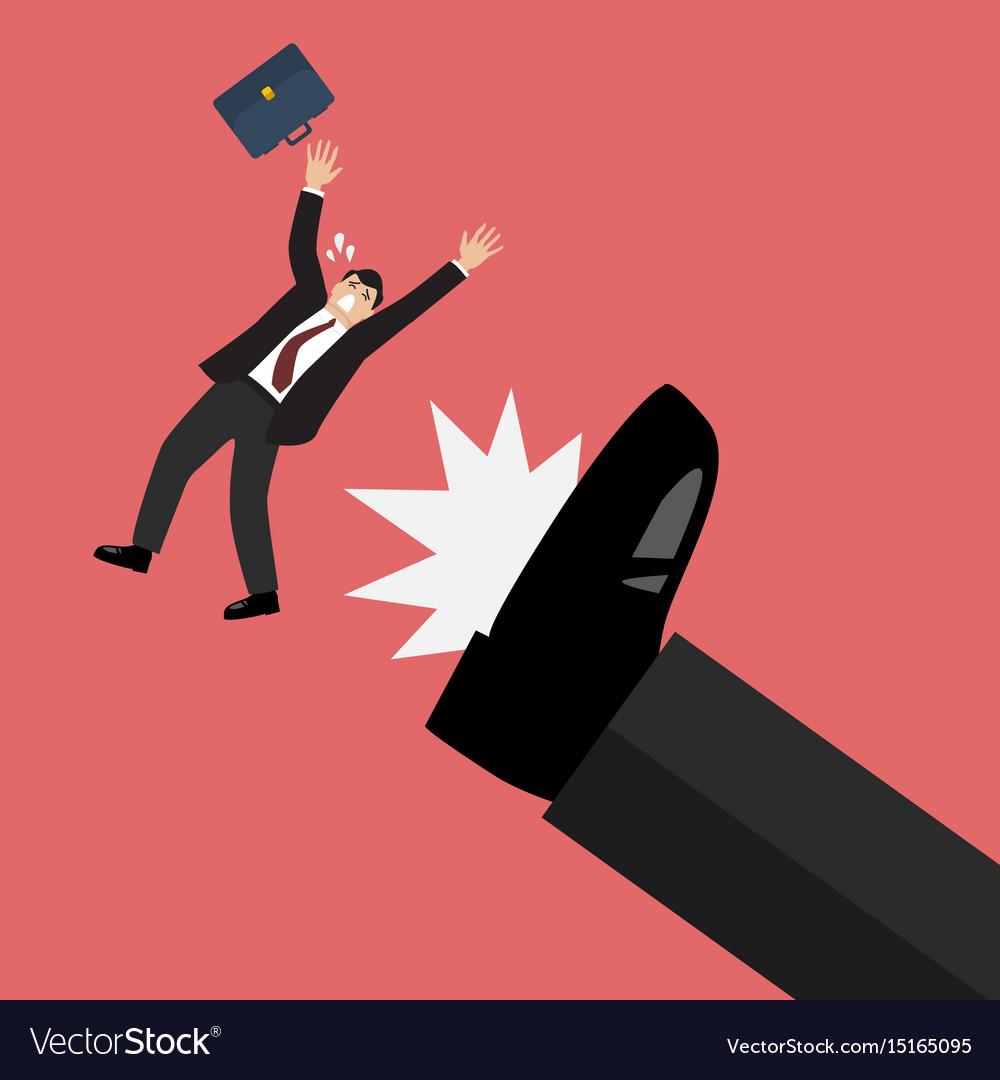 Businessman kicked by his boss big foot vector image