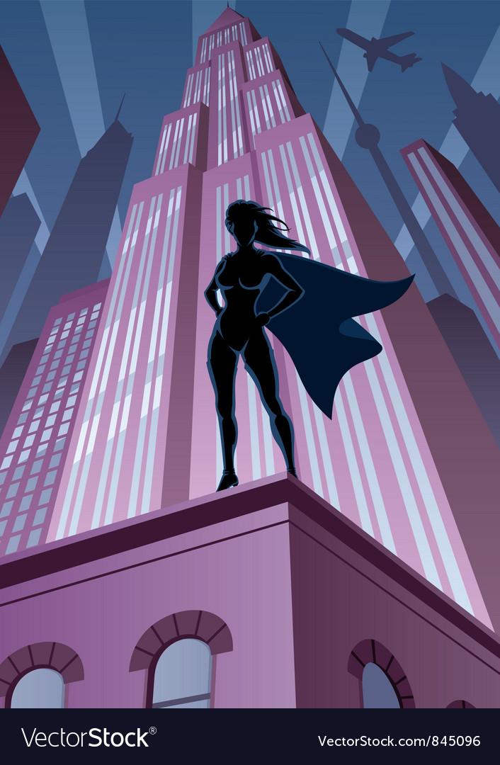 Super Heroine in City vector image