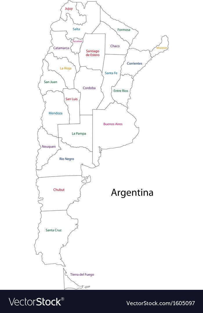 Outline Argentina Map Royalty Free Vector Image - Argentina map outline