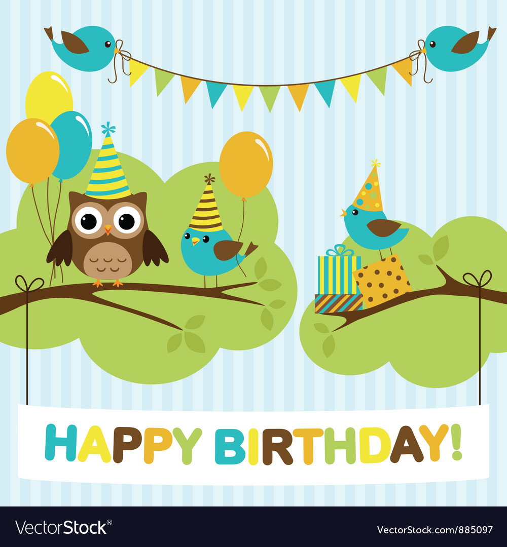Party birds card vector image