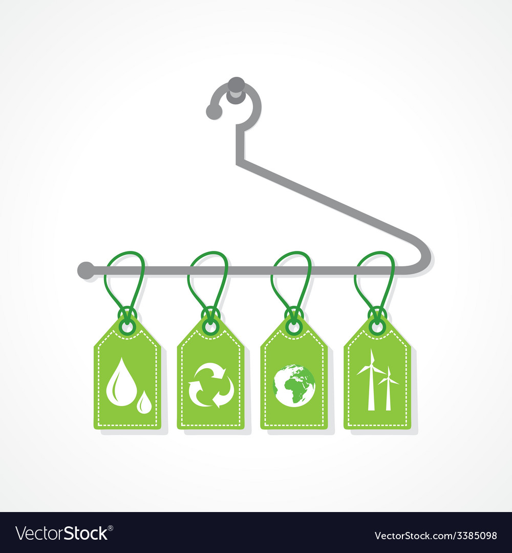 eco icon labels hanging on a hanger royalty free vector