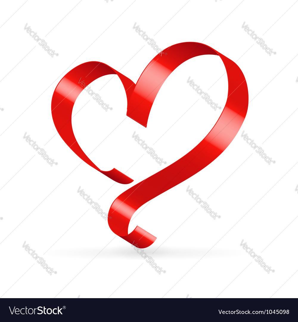 Red satin ribbon heart vector image