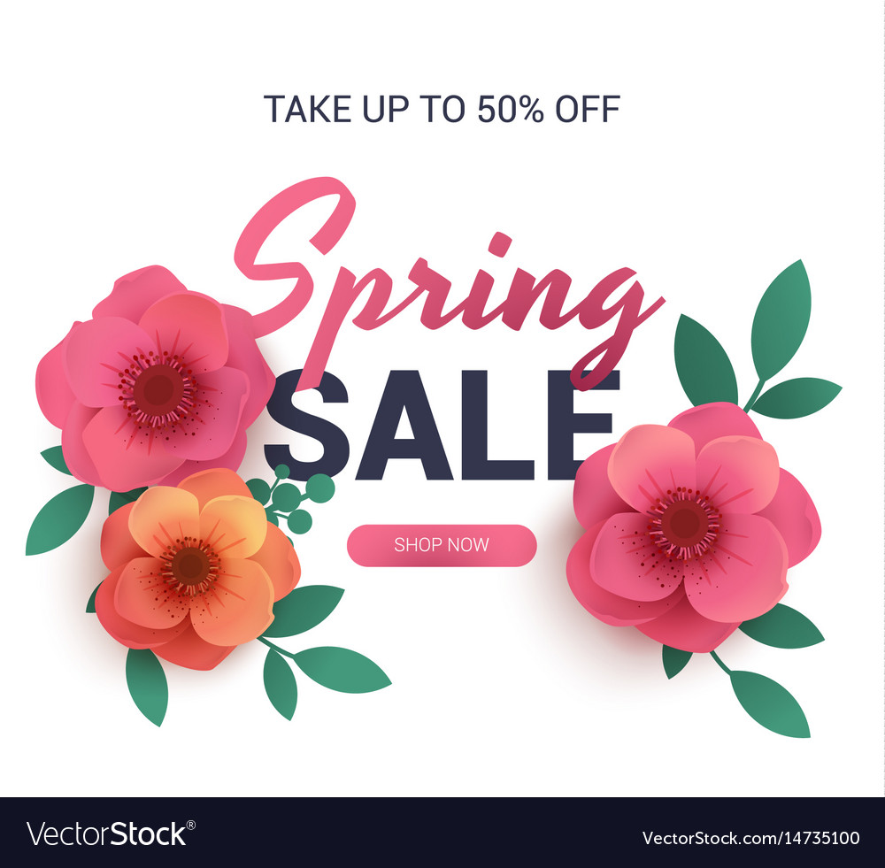 Postcard to the sale of spring with paper flowers vector image