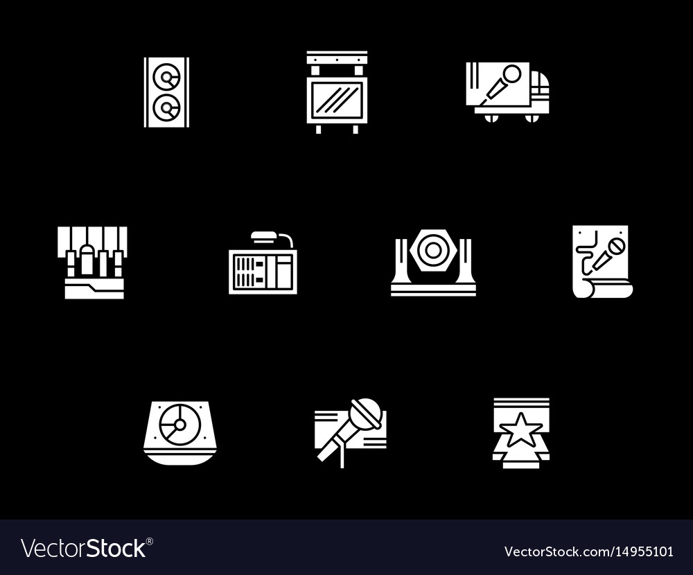 Concert stage equipment white glyph icons vector image