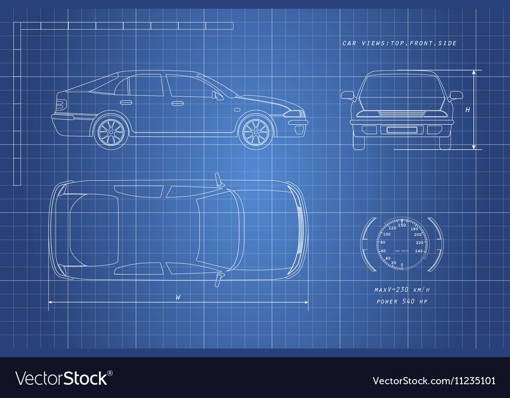 The design of the car drawing vector image