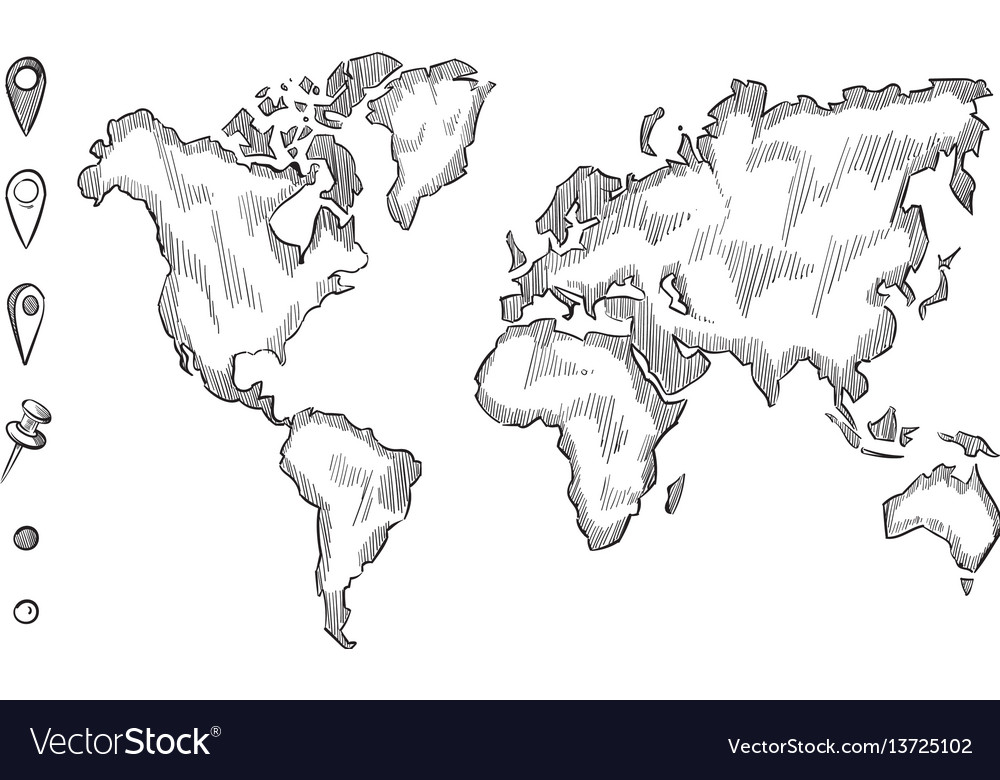 Hand drawn rough sketch world map with doodle vector image gumiabroncs Choice Image