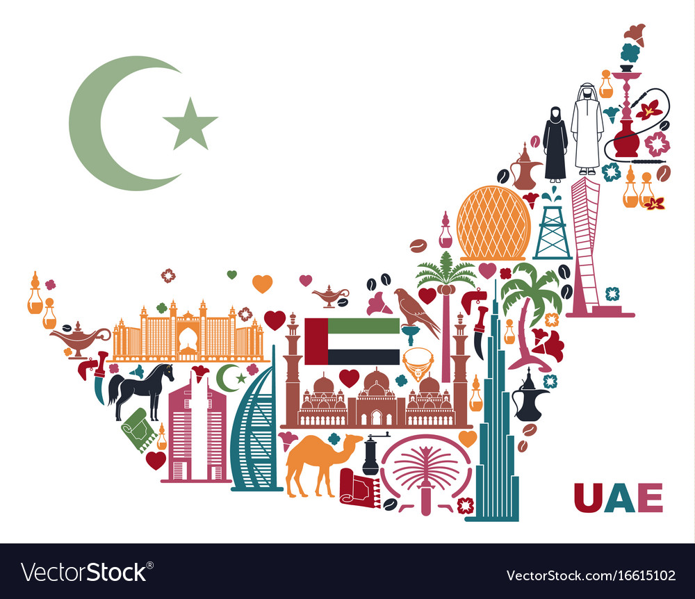 map of united arab emirates consisting of the vector image. map of united arab emirates consisting of the vector image