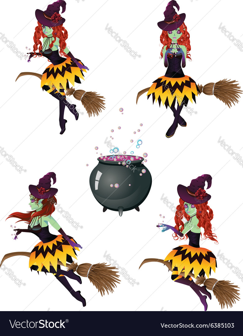 Dark Witch with Broom4 vector image