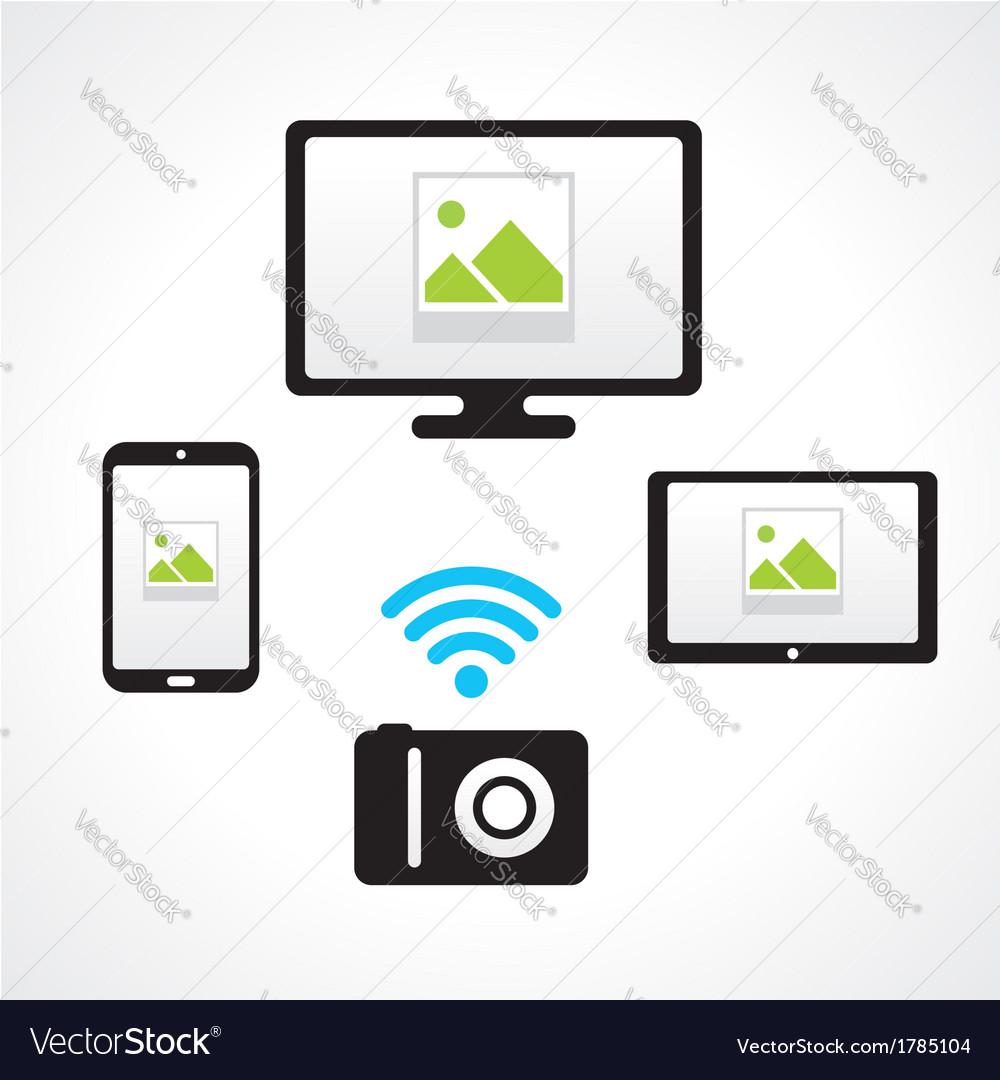camera wi fi connect computer smartphone tablet pc vector. Black Bedroom Furniture Sets. Home Design Ideas