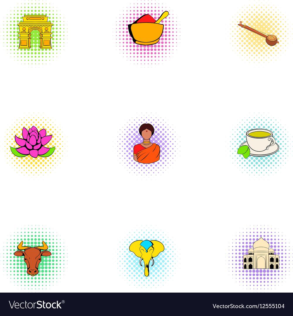 India Republic icons set pop-art style vector image