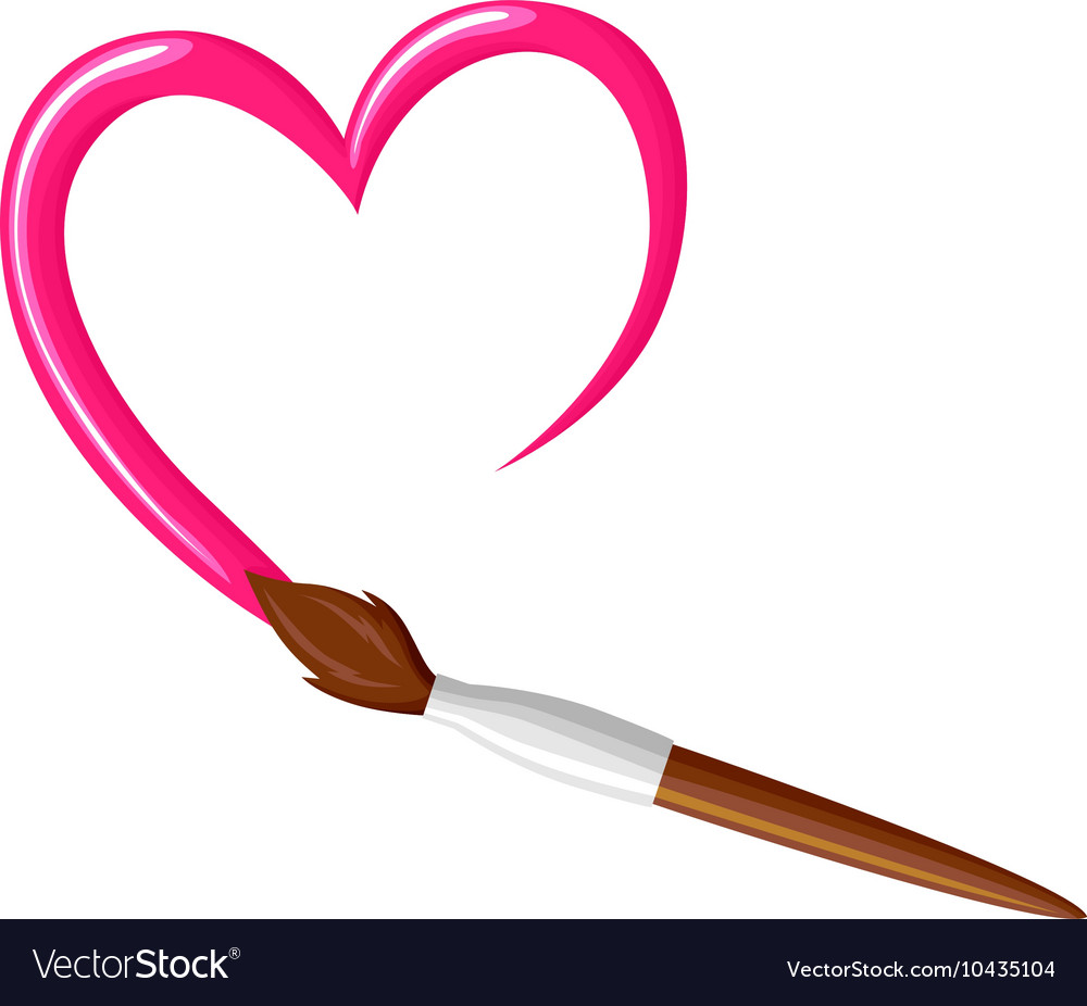 Paintbrush heart vector image