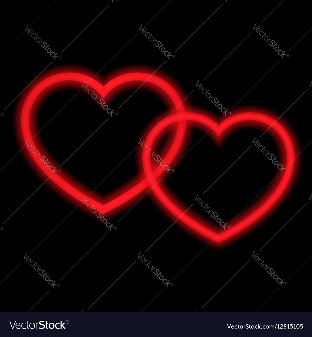 Two red hearts with neon lights vector image