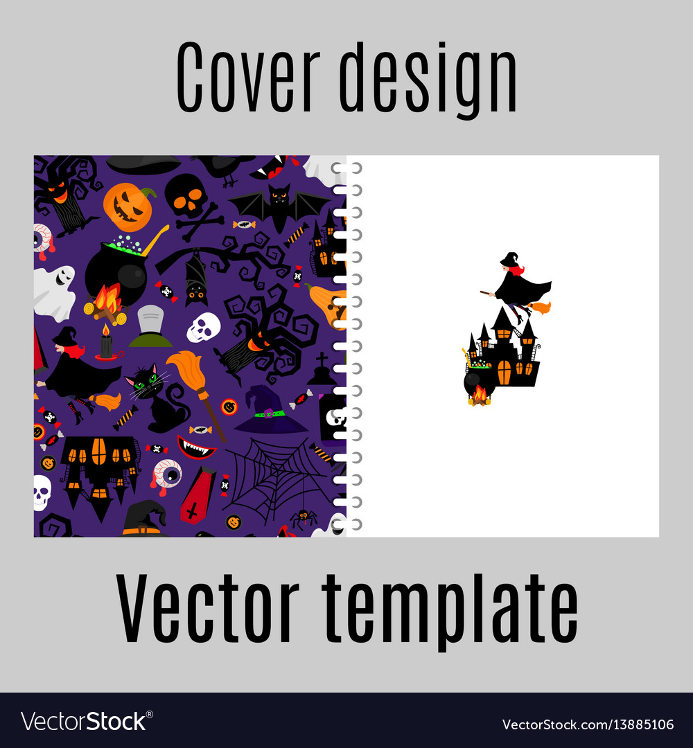 Cover design with halloween icons pattern vector image