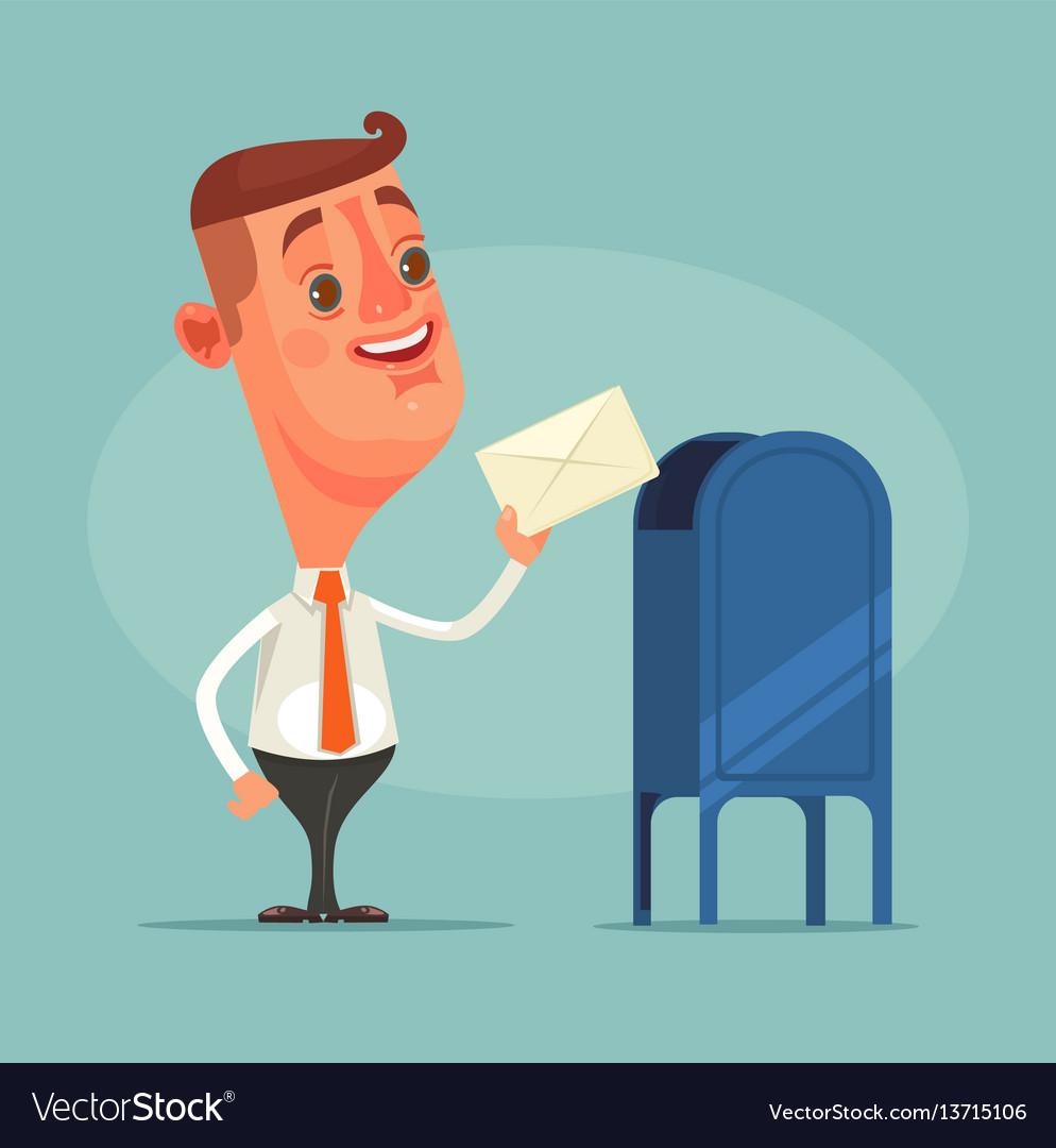Man office worker character got envelope message vector image