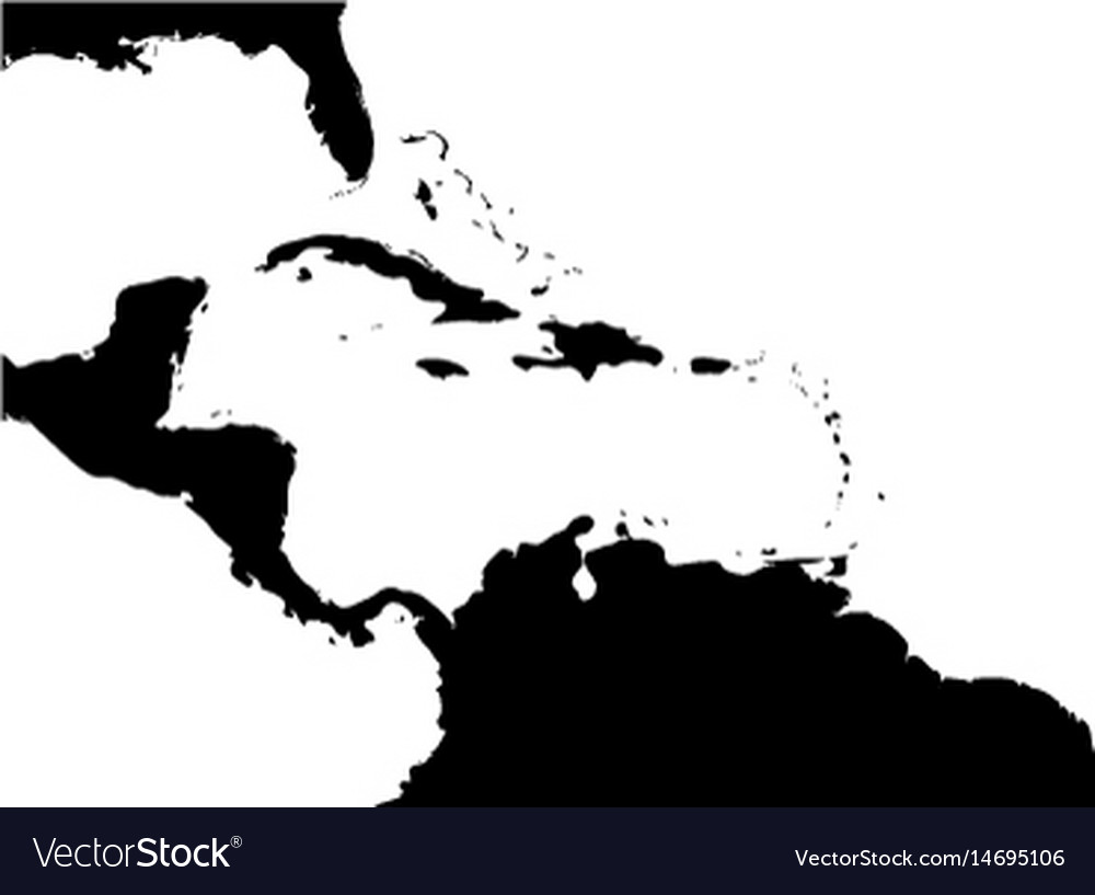 Map of caribbean region and central america black vector image