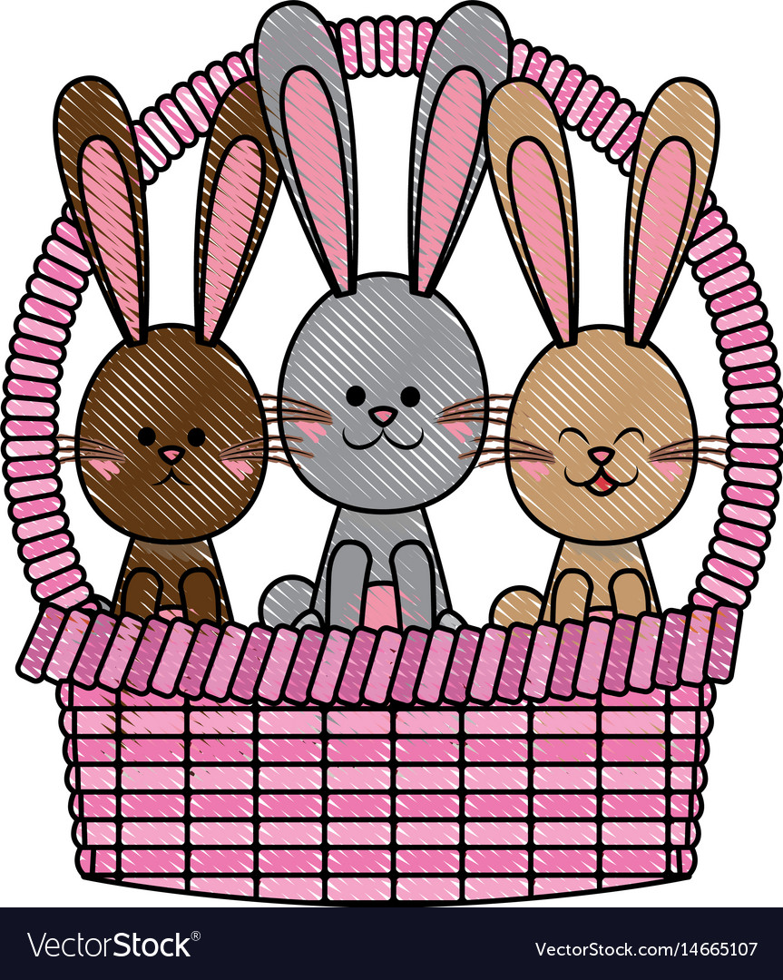 Drawing easter basket with rabbits adorable vector image