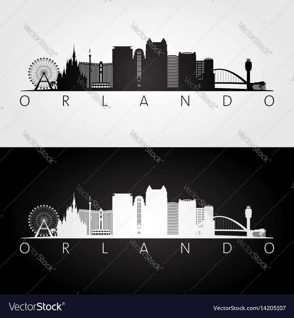 Orlando usa skyline and landmarks silhouette vector image