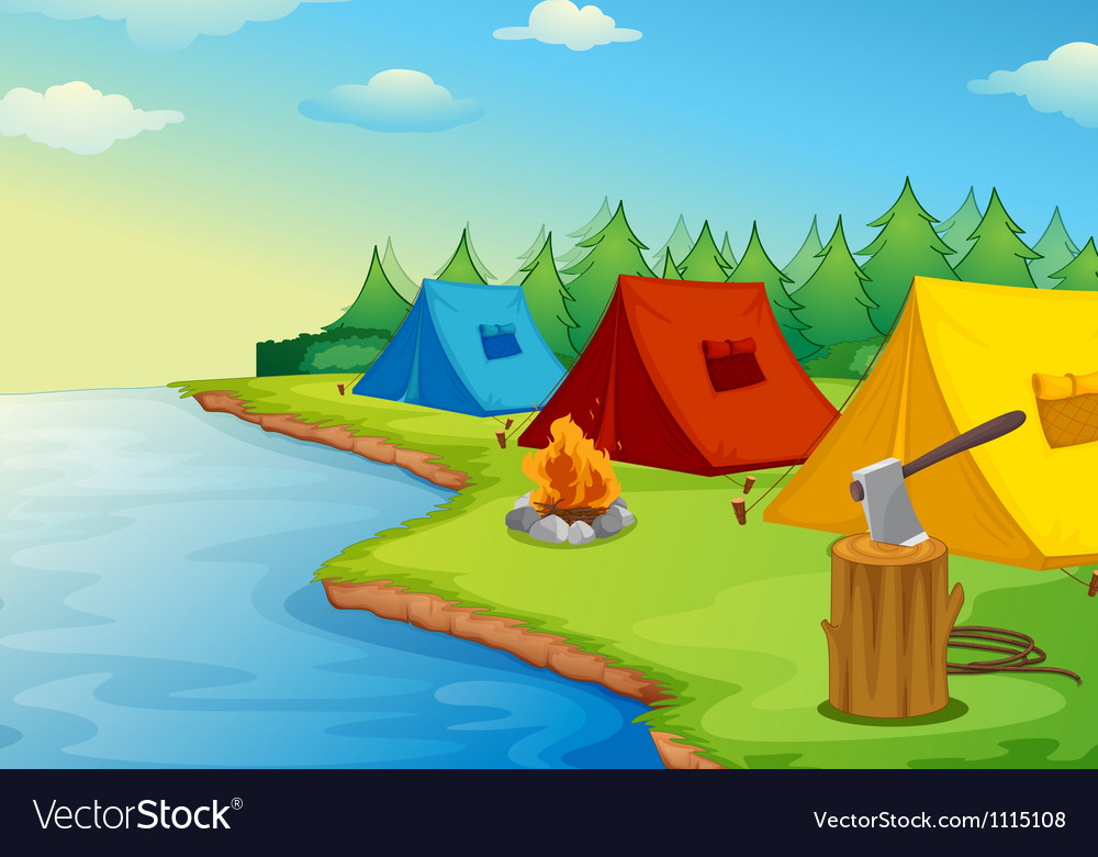 Tents and river vector image