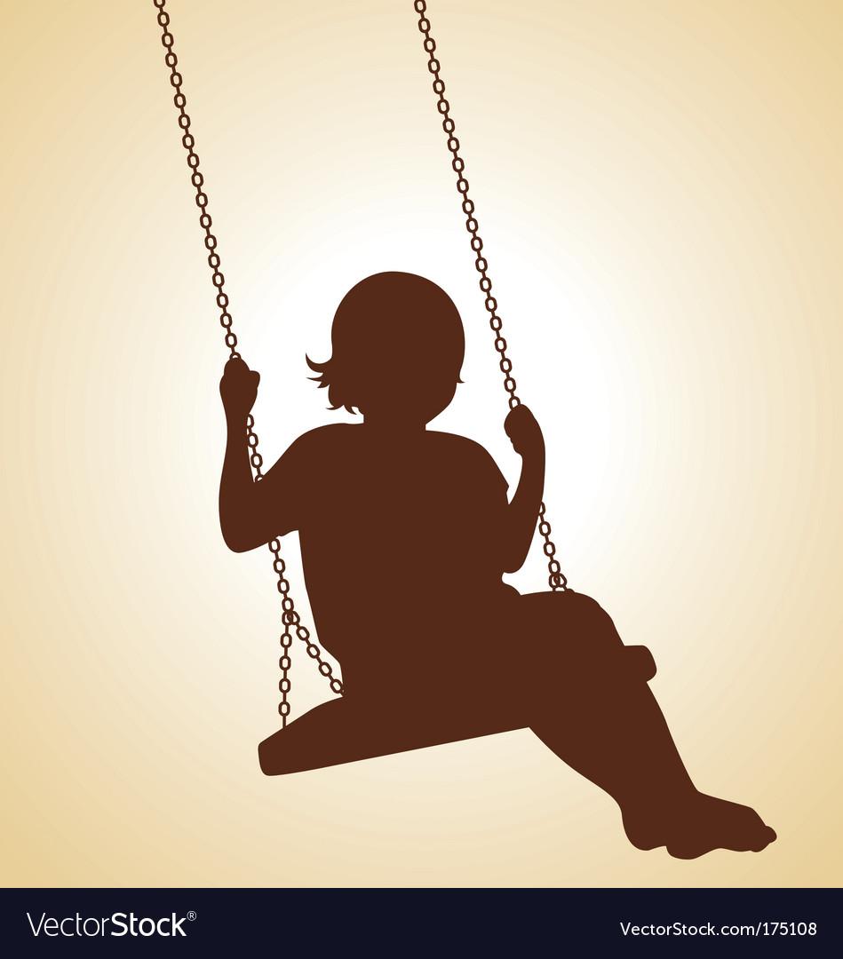 Child on swing vector image