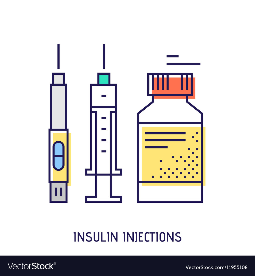 Insulin injection diabetes thin line icon vector image pooptronica Choice Image