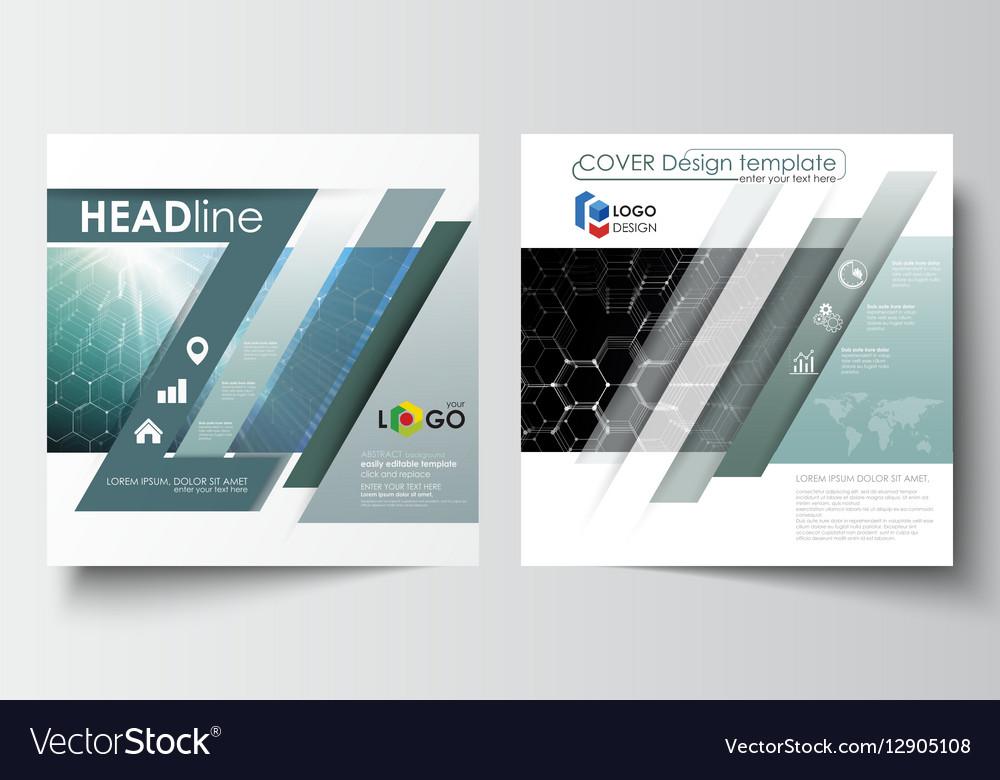 Templates for square design brochure magazine vector image