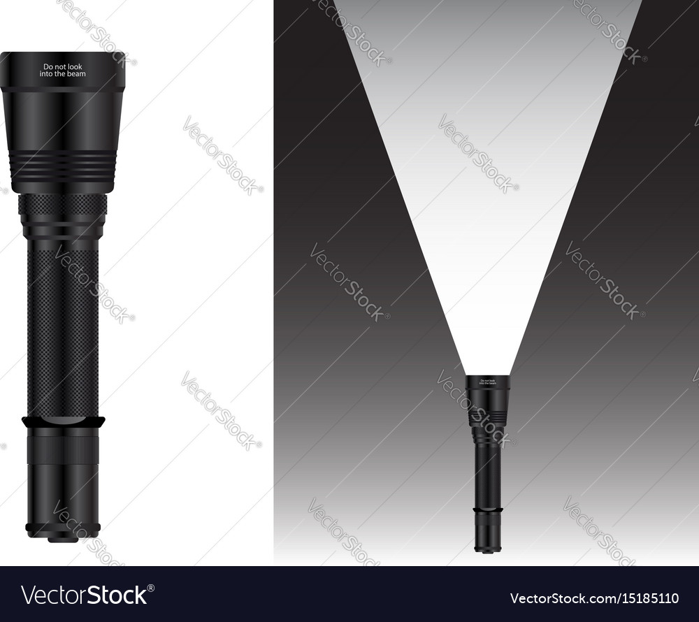 Realistic waterproof flashlight vector image