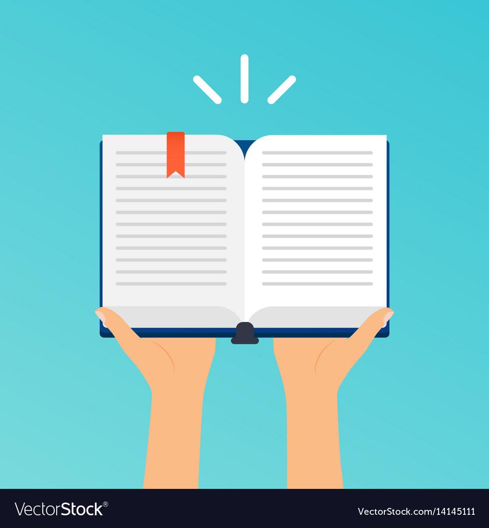 Hands holding an open book flat design modern vector image
