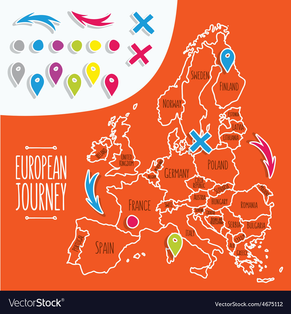 Cartoon style hand drawn travel map of Europe with vector image