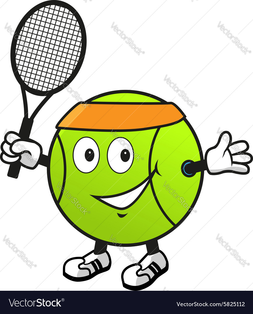 cartoon tennis ball with racket royalty free vector image resale clipart graphics Strive Clip Art