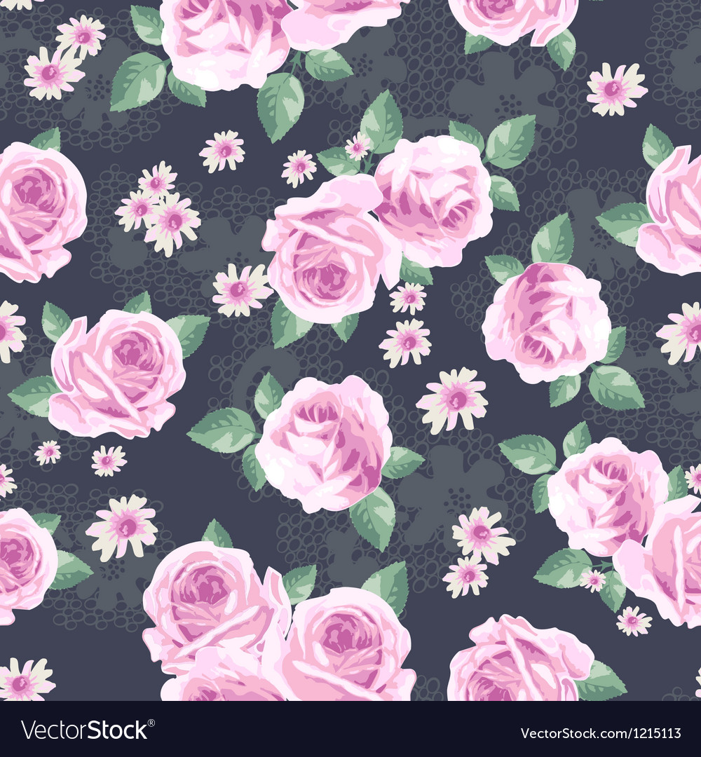 Classic rose seamless background vector image