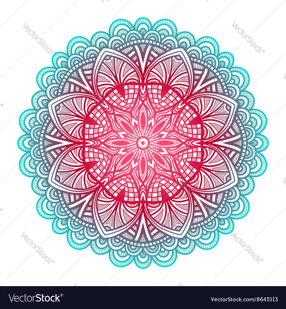 Blue and pink floral ornament circular pattern vector image