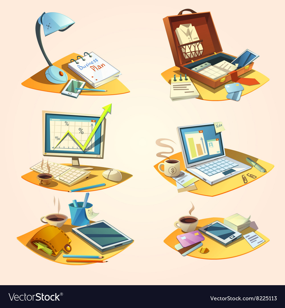 Business retro cartoon set vector image