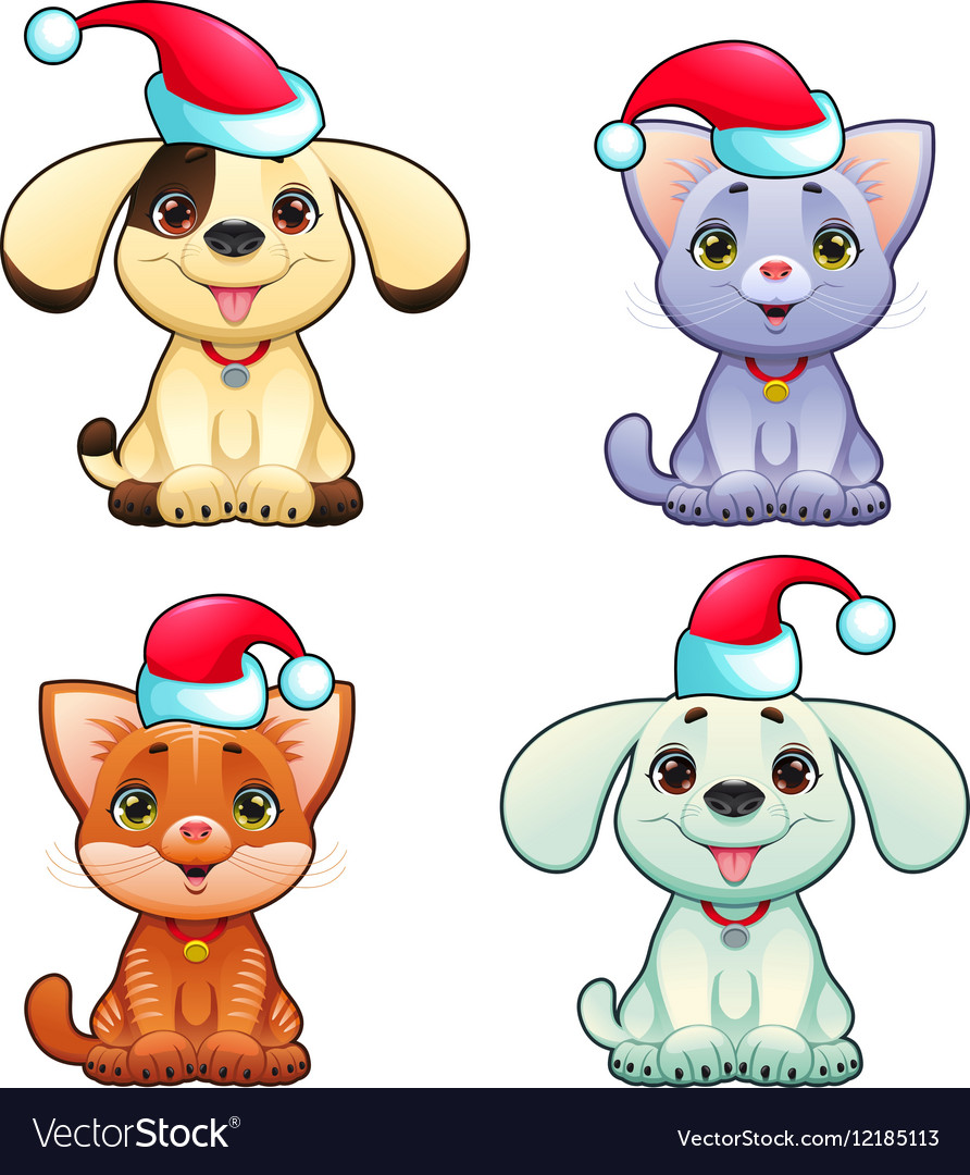 Funny Christmas dogs and cats vector image