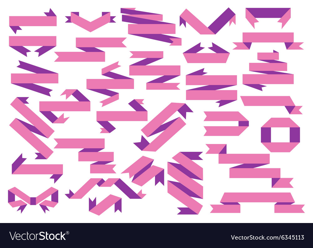 Set of paper ribbons Flat style design vector image