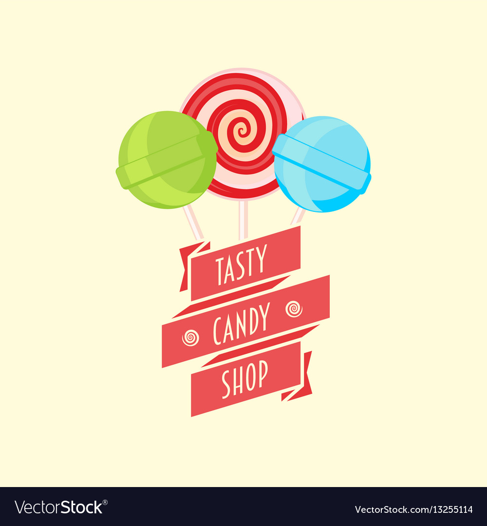 Candy shop logo sign or symbol design template vector image