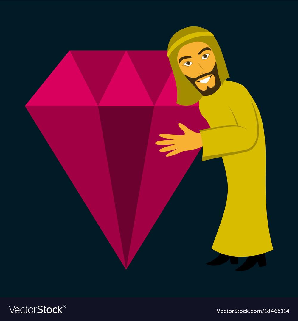 Flat icon on theme arabic business arabic man