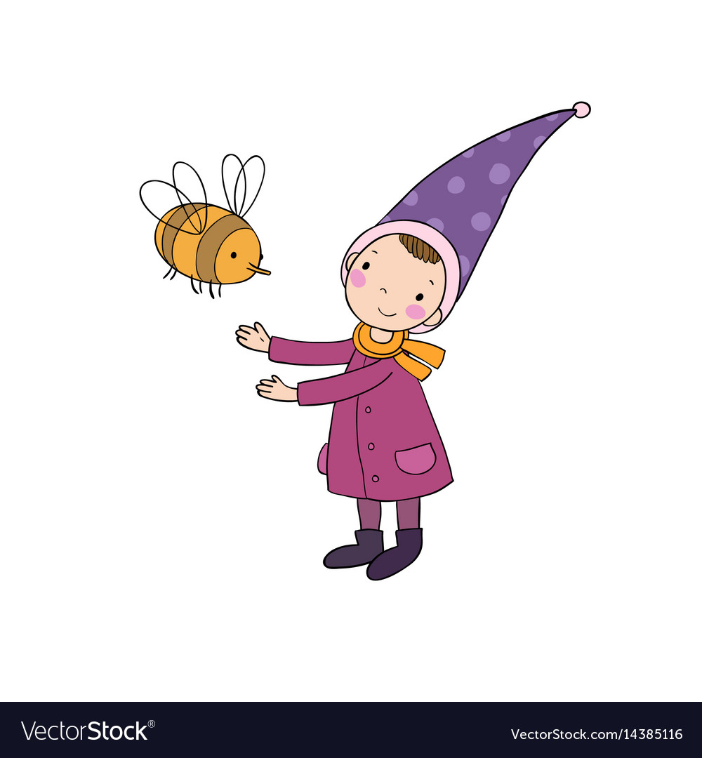 Cute little gnome and a bumblebee isolated vector image