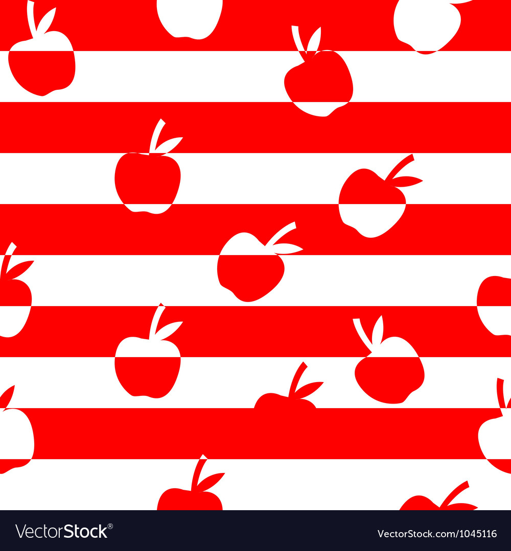 Stripped seamless pattern with apples vector image