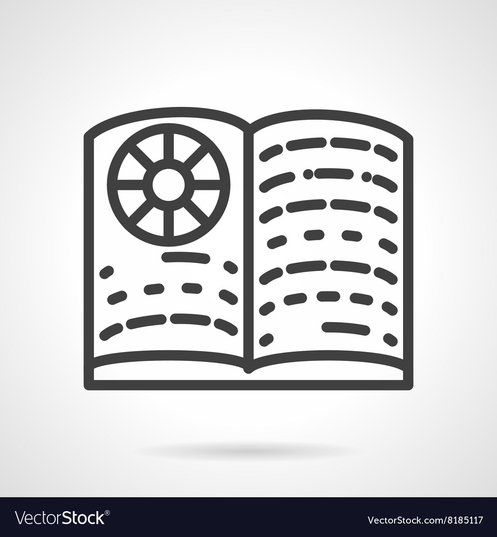 School textbook simple line icon vector image